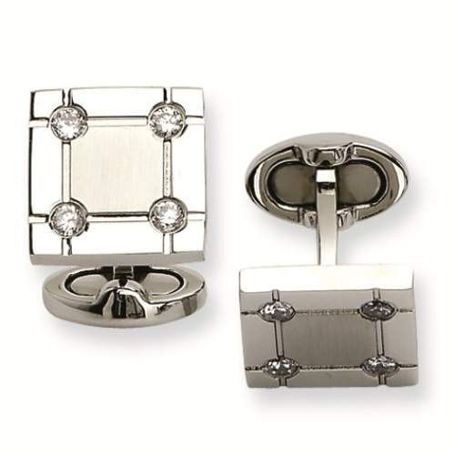 Beakon CZ diamond square cufflinks