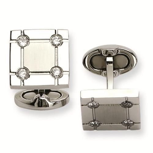 Beakon CZ diamond square cufflinks