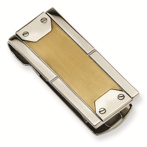 Vegabond Stainless Steel Money Clip with Gold Plating