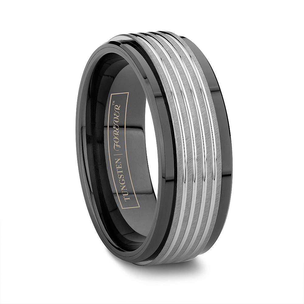 band lalaserengraving la beveled brushed wedding edges bands data tungsten