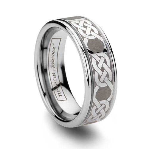 Laser Etched Celtic Tungsten Band Gaelic Ring