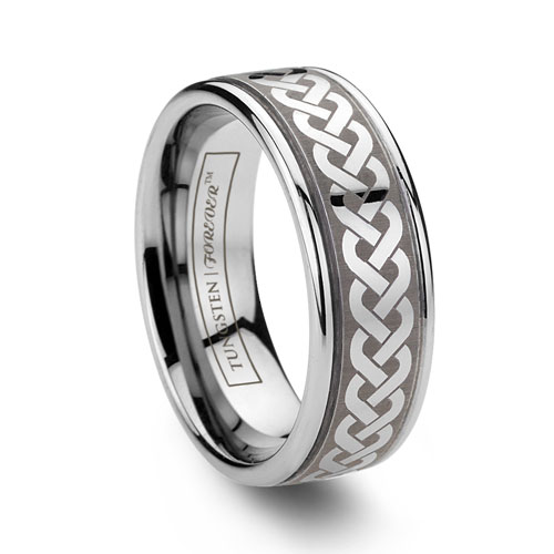 Laser Etched Knot Tungsten Ring Celtic Pattern