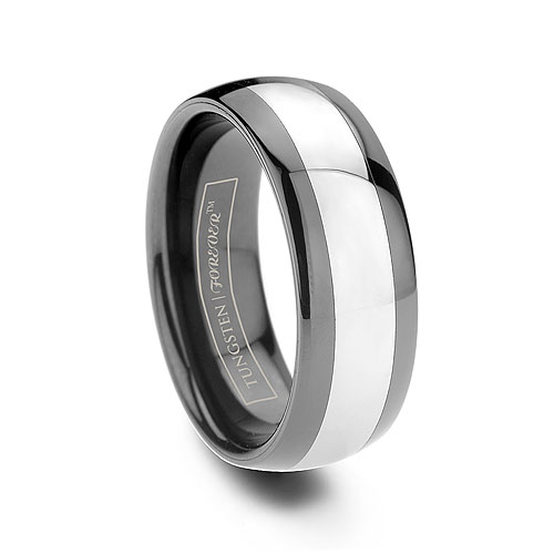 Mens Black Tungsten Ceramic Inlay Dombed Ring