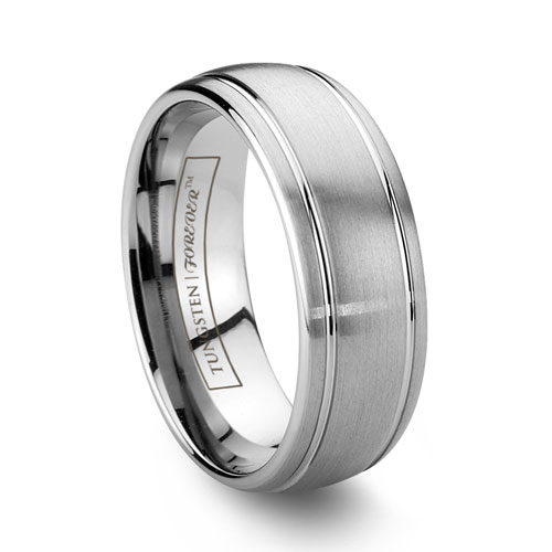 Mens Tungsten Wedding Ring With Grooves