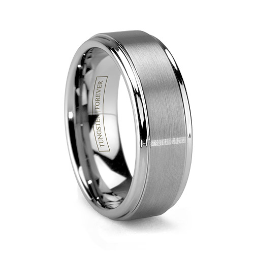 Tungsten Carbide Brushed Mens Wedding Ring
