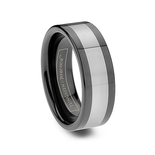 Men Black Tungsten Ceramic Inlay Ring Two Toned
