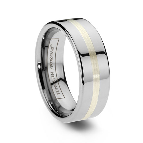 Tungsten Carbide Rings With An Argentium Silver Inlay