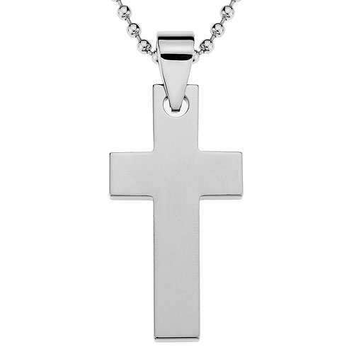 Polished Tungsten Jewelry Cross Pendant