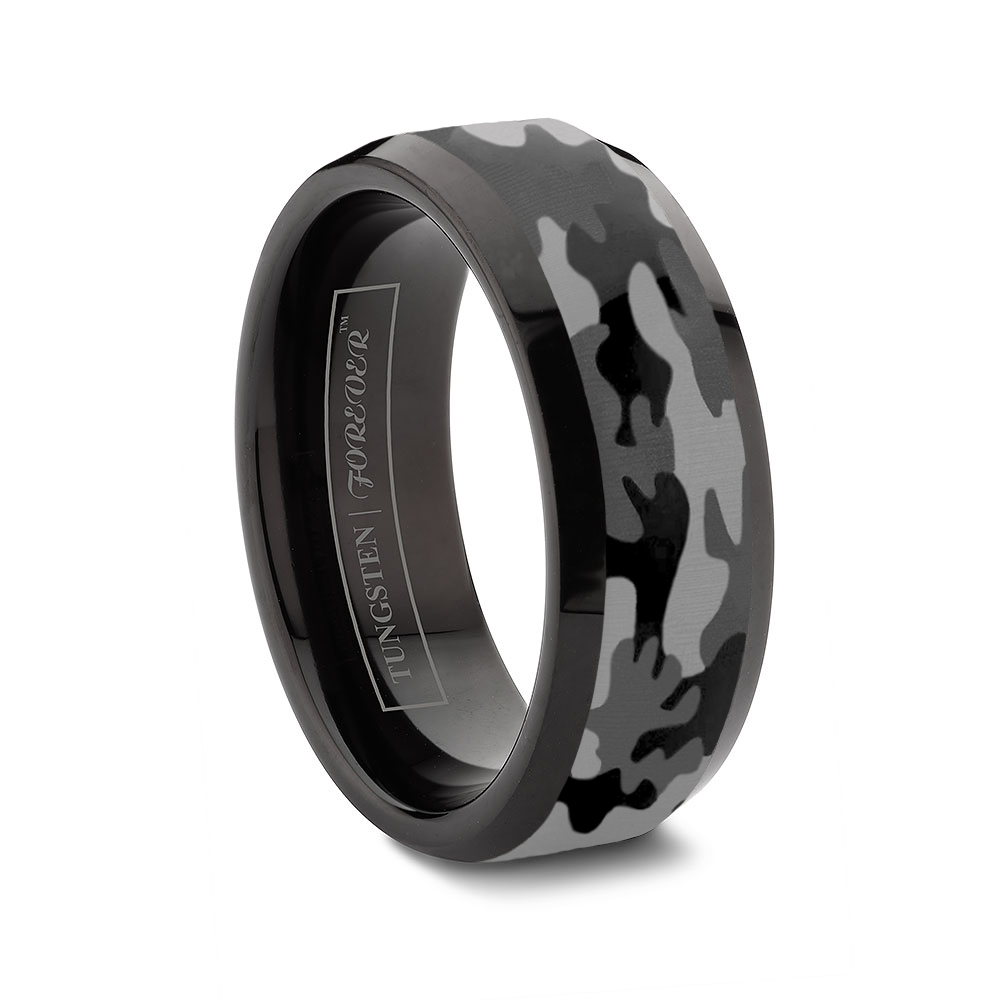 custom tungsten rings black mens wedding rings Ceramic and Tungsten Diamond Ring Camo Tungsten Ring