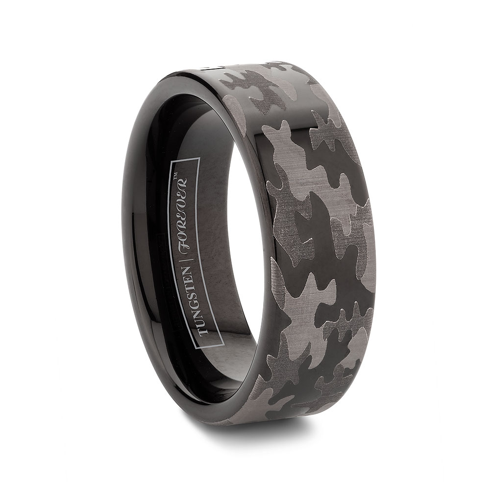 Rings For Men: Black Tungsten Rings For Men Camo Black