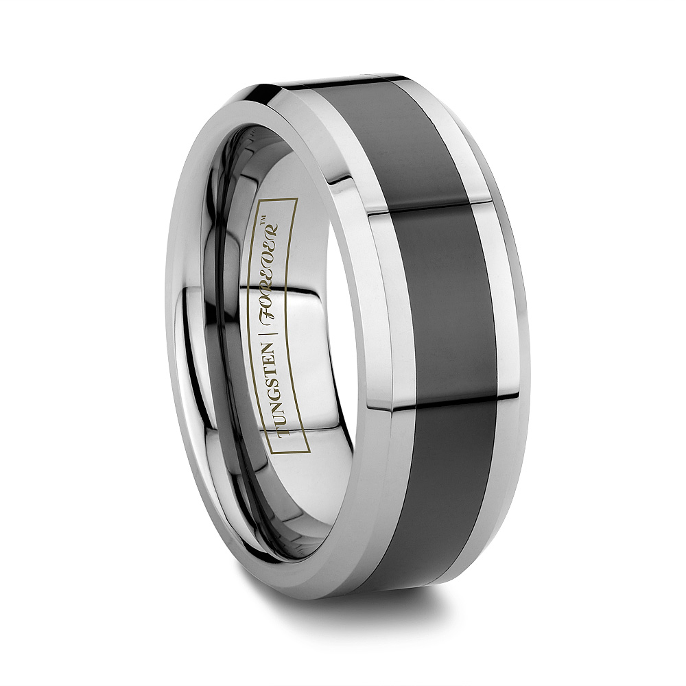 Men's Tungsten And Black Ceramic Ring