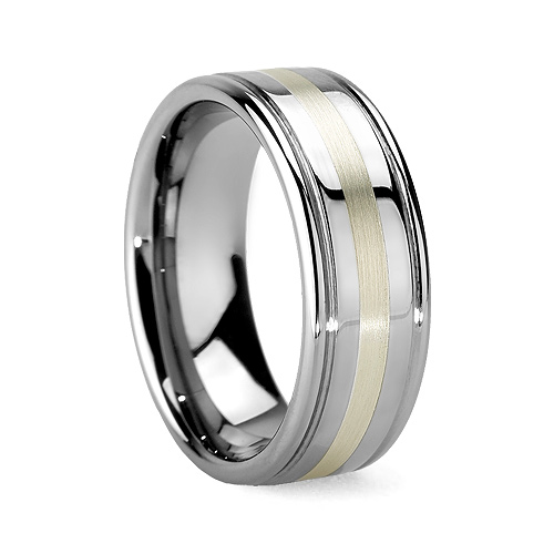 Argentium Silver Men's Or Womens Tungsten Wedding Ring