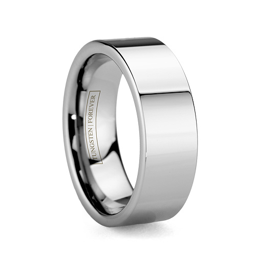 Mens Wide Flat Durable Tungsten Wedding Ring