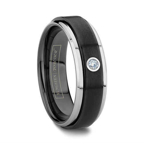 Ceramic and Tungsten Diamond Ring