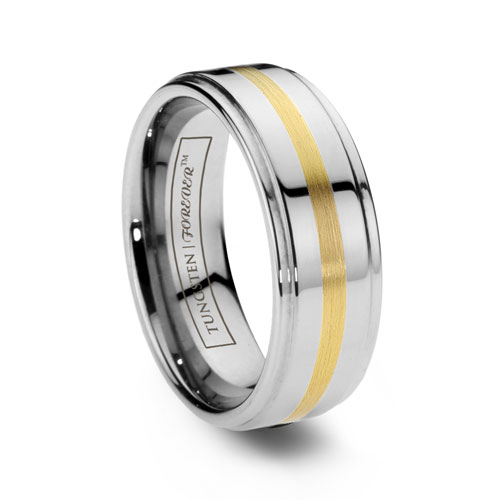 Hercules Tungsten Ring with Gold Inlay
