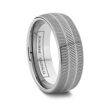 6mm And 8mm Tire Tread Line Tungsten Carbide Wedding Band