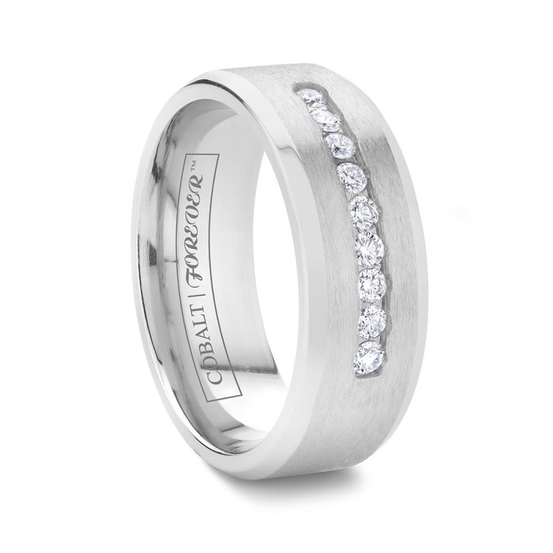 8mm Diamond Channel Set Cobalt Wedding Band
