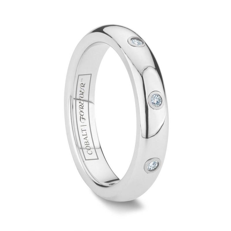 4mm Cobalt Chrome 3 Diamond Wedding Band