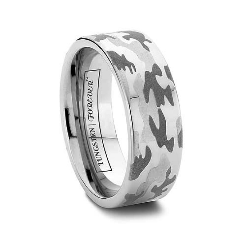 6mm or 8mm mens camouflage wedding band flat tungsten carbide - Mens Camo Wedding Ring