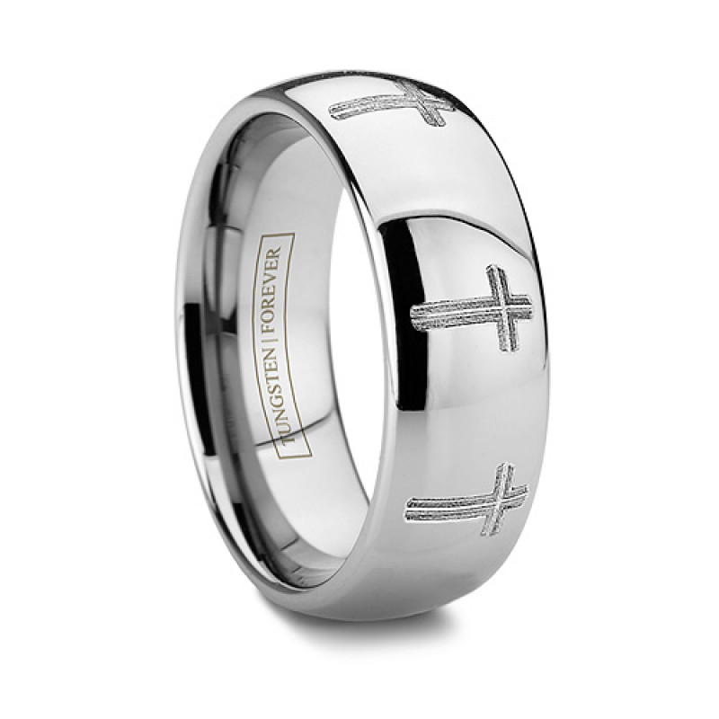6mm Or 8mm Catholic Tungsten Wedding Band Religious Cross Ring