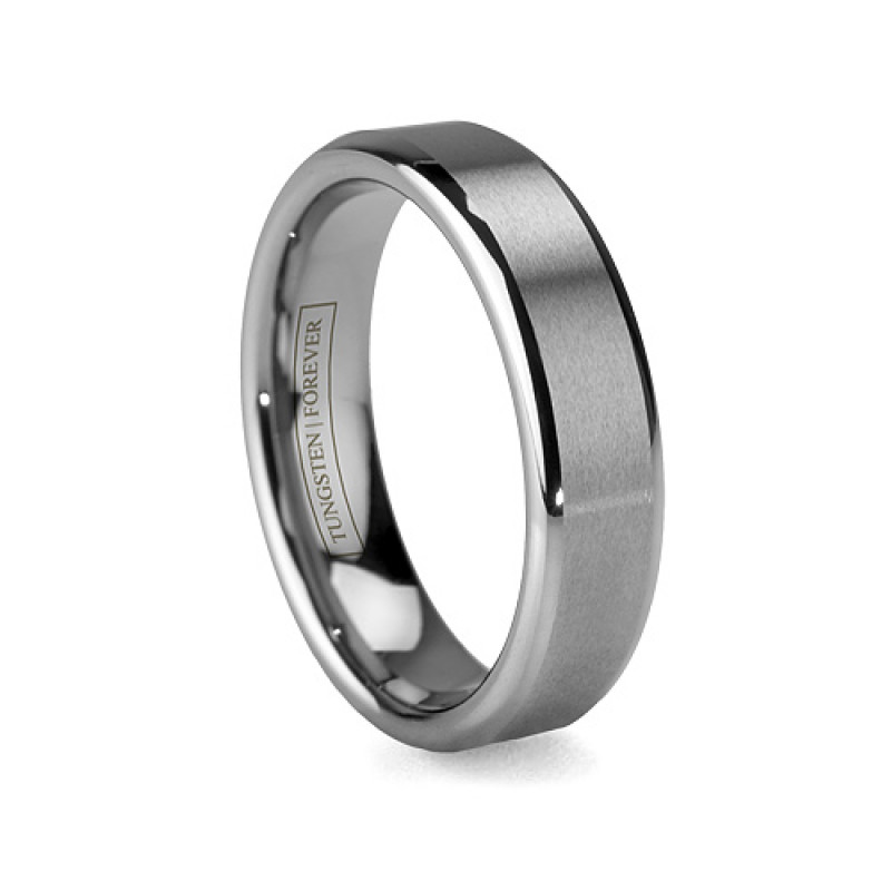 6mm 8mm Grooved Brushed Tungsten Wedding Band