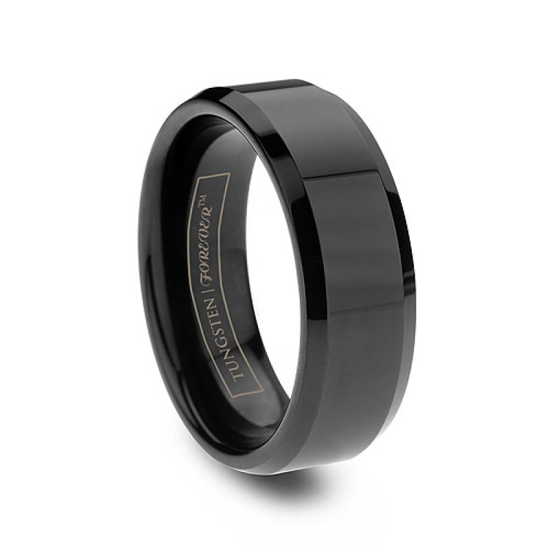 ring wedding two bands for black with rings mens men satin in titanium