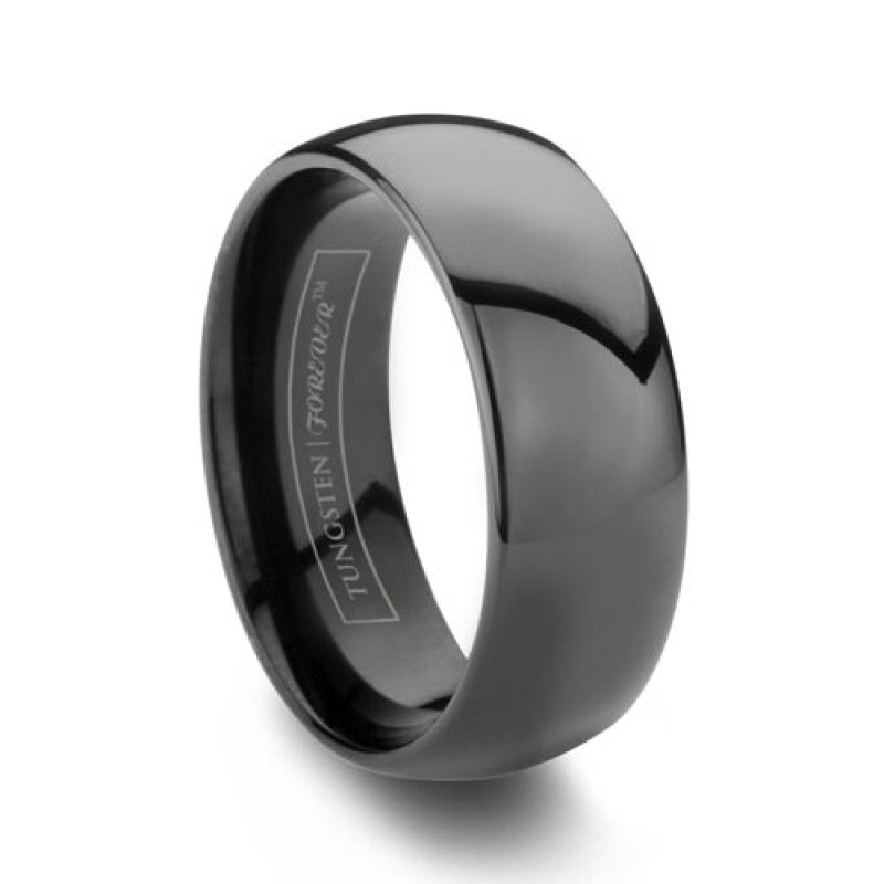 8mm Domed Black Tungsten Wedding Band