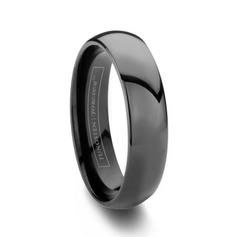 6mm Domed Black Tungsten Wedding Band