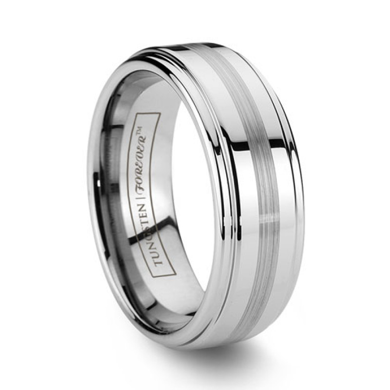 8mm Mens Tungsten Wedding Band Center Brushed Stripe