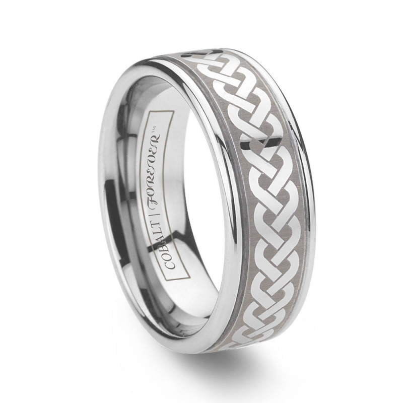 galway cobalt chrome celtic wedding rings with knot pattern - Cobalt Wedding Rings