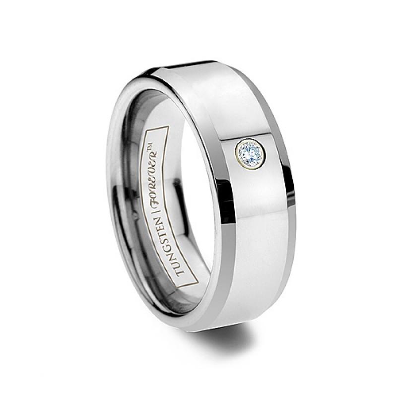 6mm 8mm Tungsten Solitaire Diamond Wedding Band