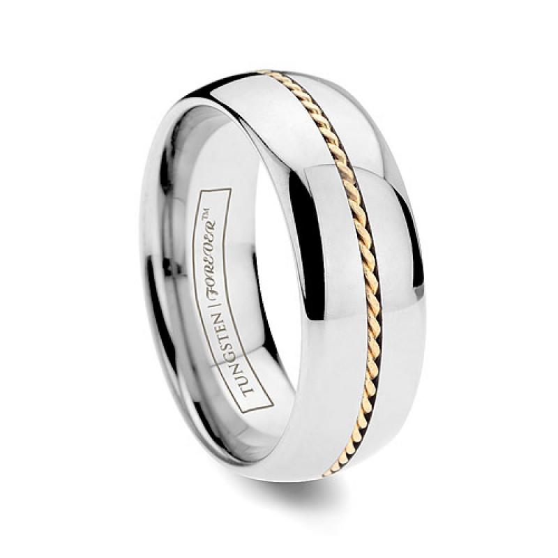 6mm 8mm Hand Woven Gold Inlay Tungsten Wedding Band