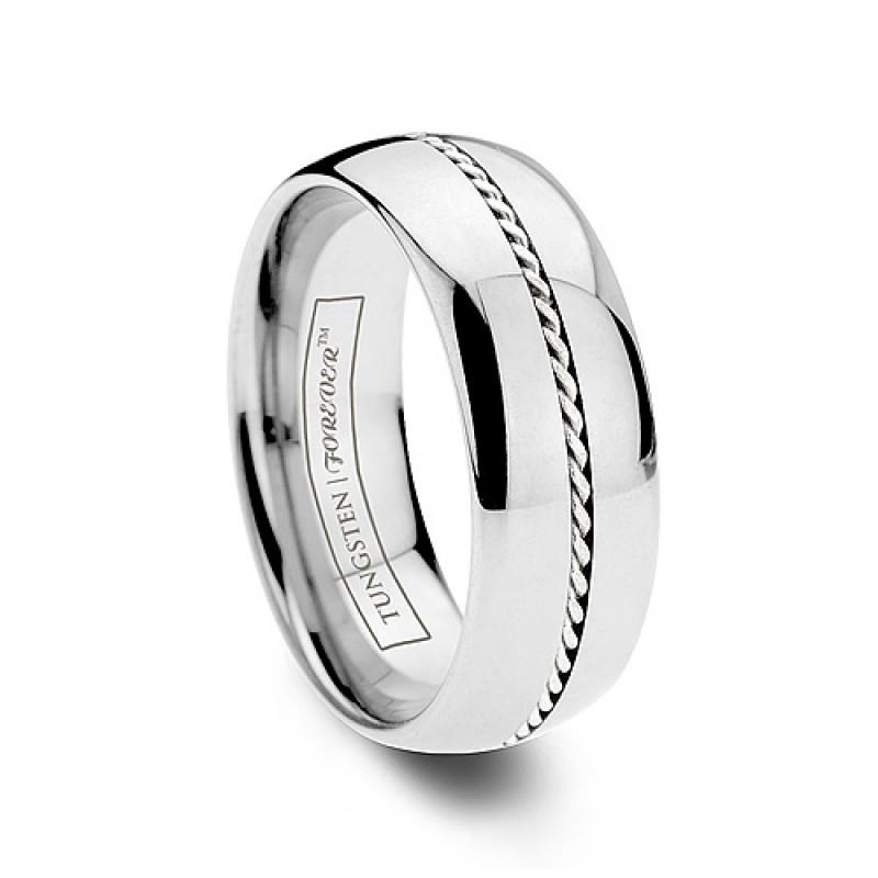 6mm 8mm Woven Platinum Inlay Tungsten Wedding Band