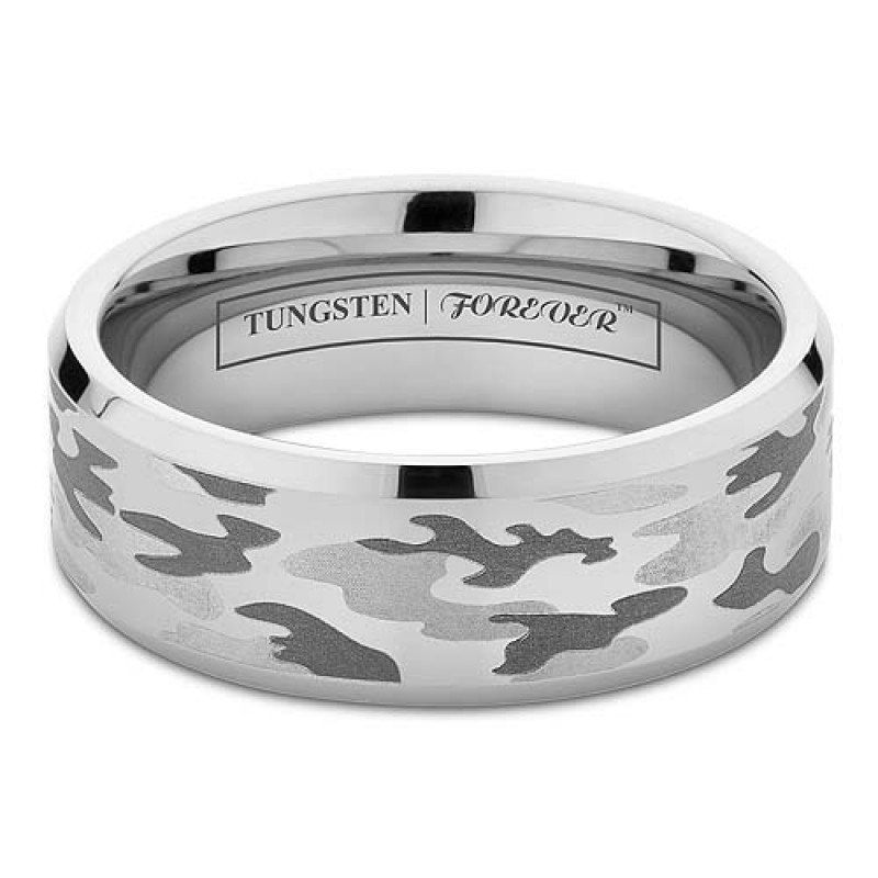 6mm 8mm Beveled Camo Tungsten Wedding Band