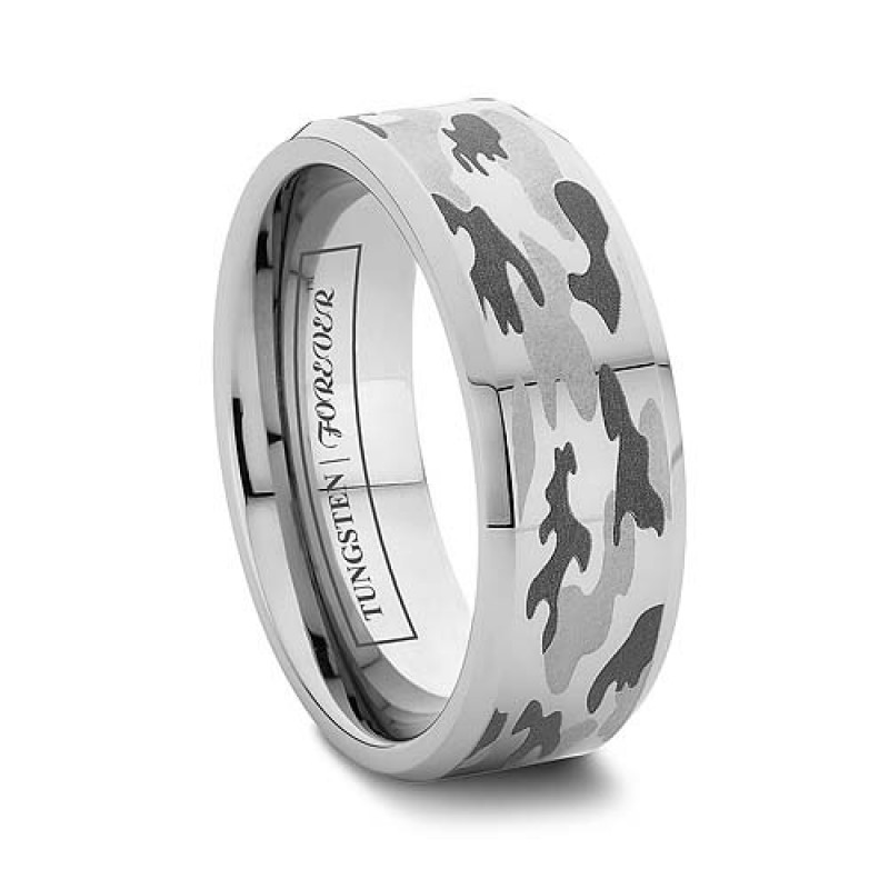 6mm Or 8mm Camo Wedding Rings For Men Beveled Tungsten