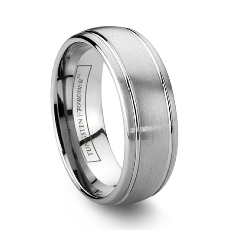 Enement Rings With Band | 6mm 8mm Grooved Brushed Tungsten Wedding Band