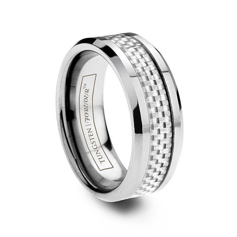 6mm 8mm White Carbon Fiber Tungsten Ring With Beveled Edge