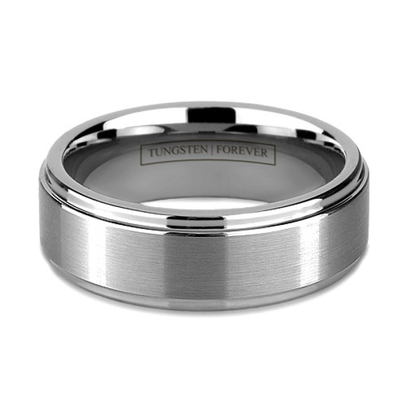 8mm Raised Brushed Tungsten Wedding Band