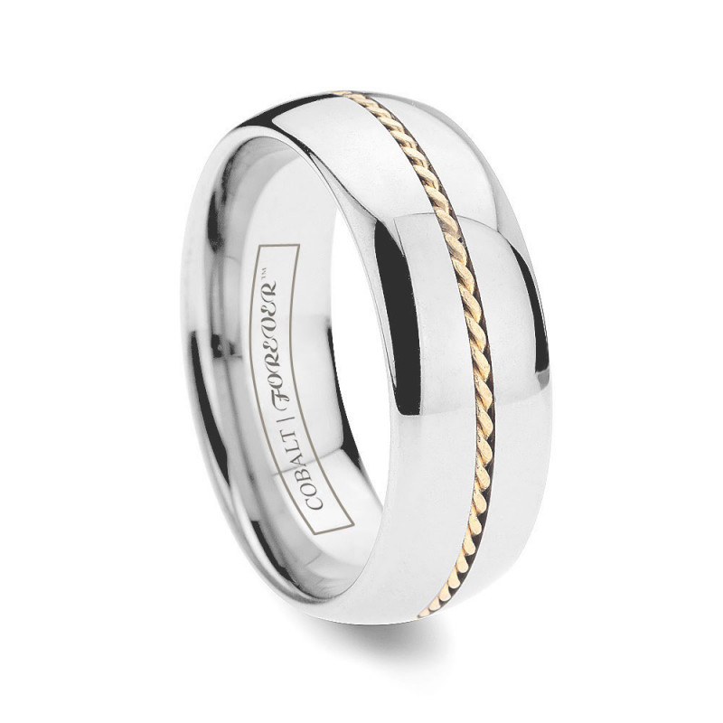 6mm 8mm Hand Woven Gold Inlay Cobalt Wedding Band