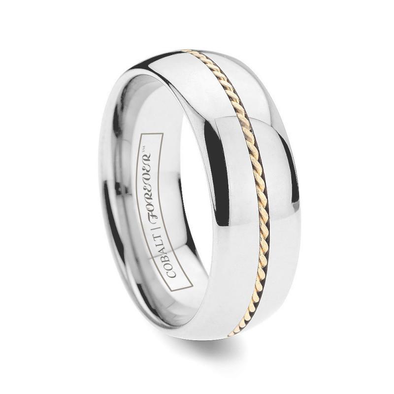 Cobalt Wedding Bands | 6mm 8mm Hand Woven Gold Inlay Cobalt Wedding Band