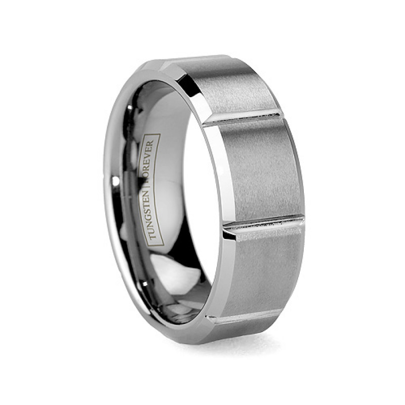 8mm Faceted Brushed Tungsten Wedding Band