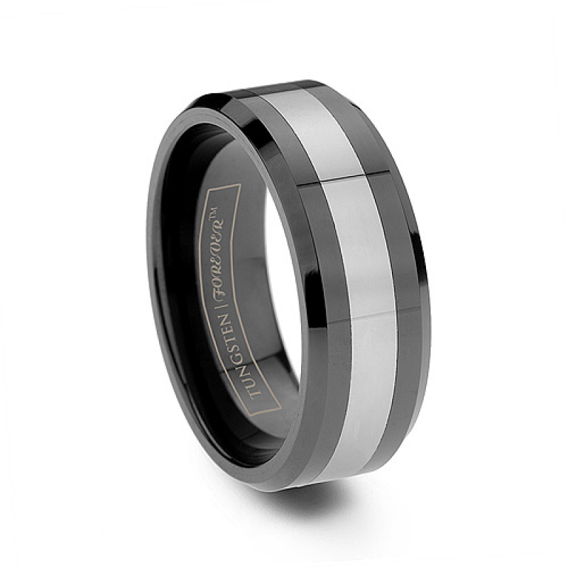 8mm beveled black tungsten ceramic inlay wedding band - Ceramic Wedding Rings