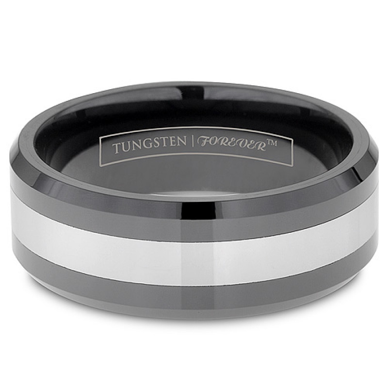 8mm Mens Two Tone Black Inlay Ceramic Tungsten Ring