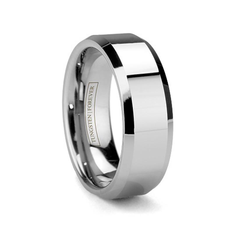 8mm Beveled Tungsten Wedding Band