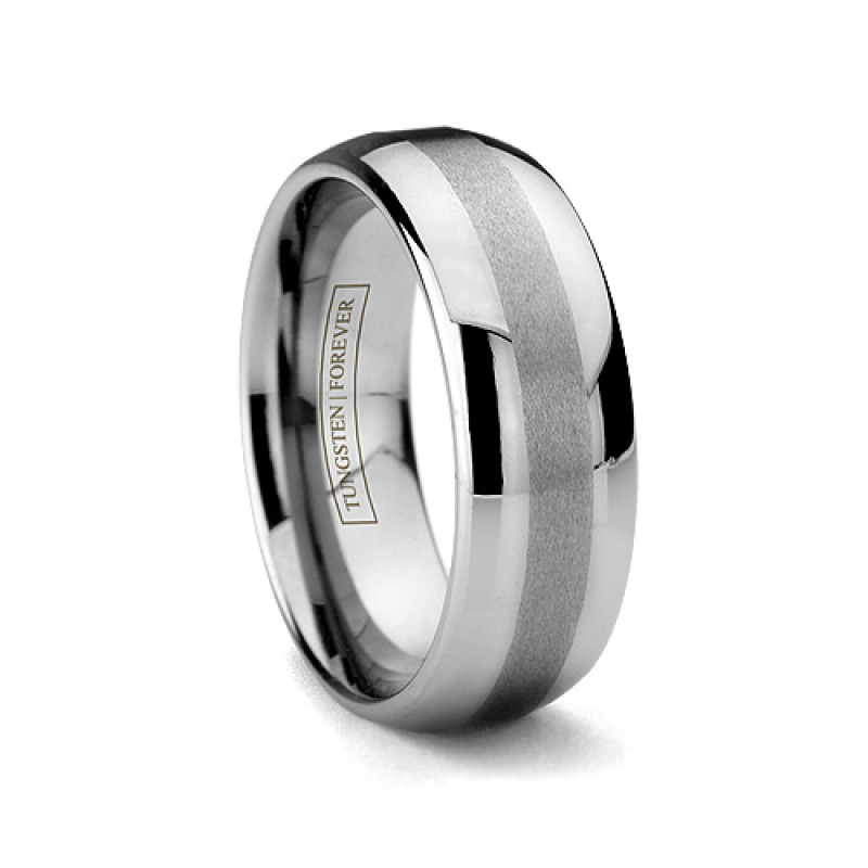 8mm Brushed Mens Tungsten Carbide Ring Domed