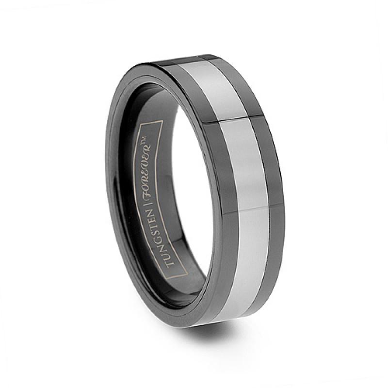 6mm Mens Black Tungsten Ceramic Inlay Flat Comfort Fit Ring