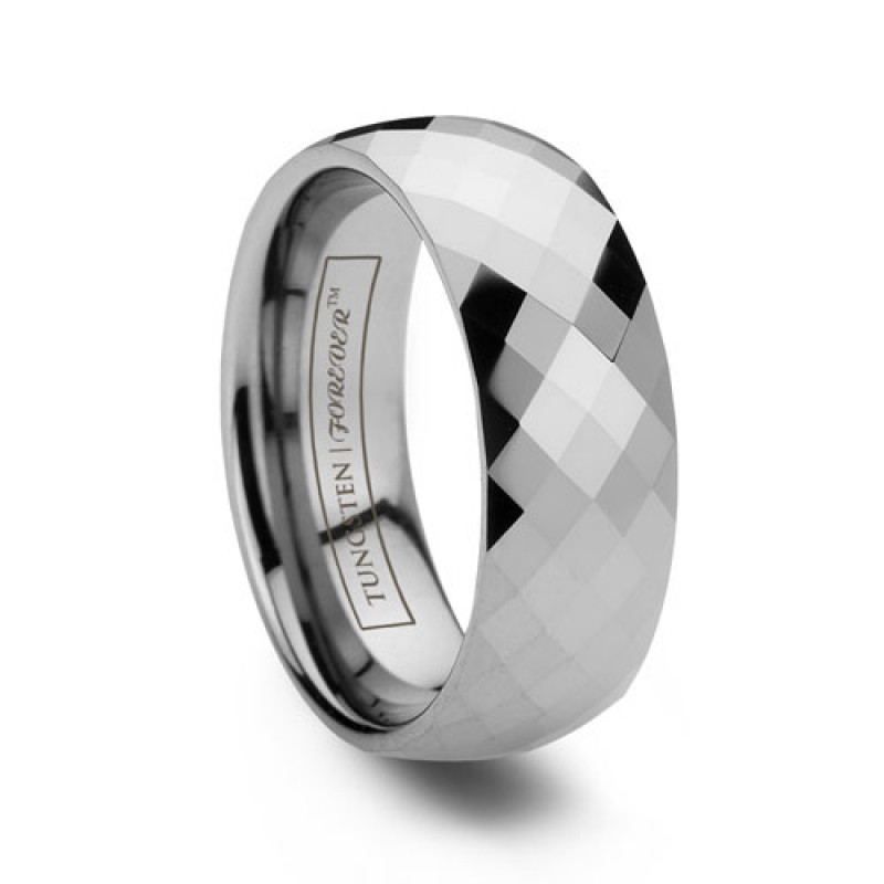 8mm domed mulitfaceted tungsten wedding band - Tungsten Wedding Rings For Men