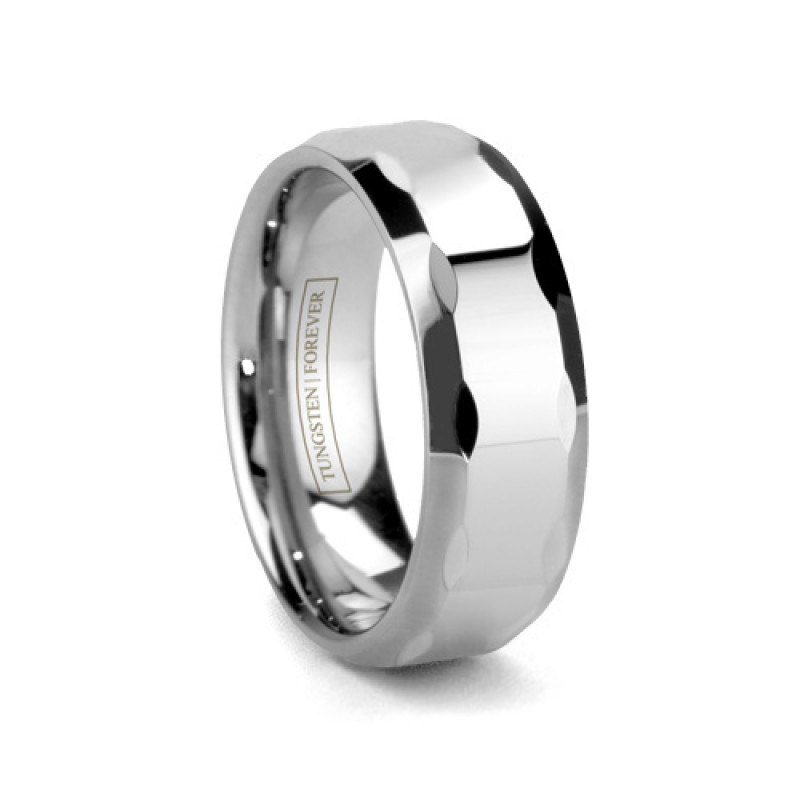 8mm Faceted Tungsten Wedding Band
