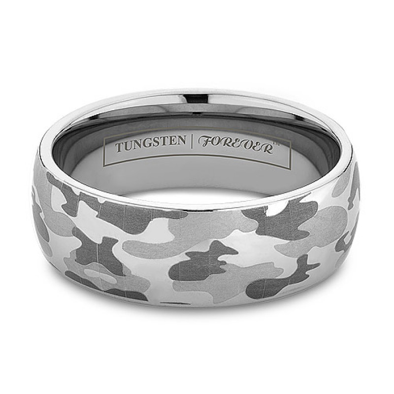 6mm 8mm Domed Camo Tungsten Wedding Band