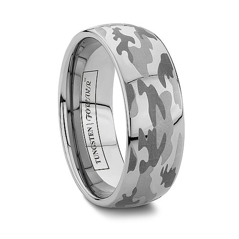 6mm 8mm domed camo tungsten wedding band - Hunting Wedding Rings